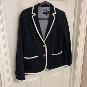 Talbots black blazer white piping gold buttons